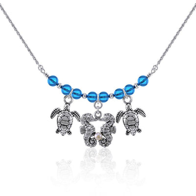 Double Seahorse and Turtles Silver Bead Necklace TNC467
