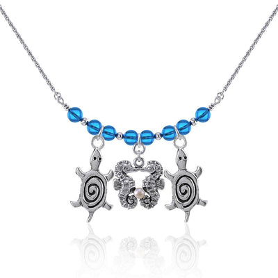 Double Seahorse and Spiral Turtles Silver Bead Necklace TNC469