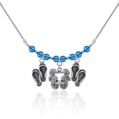 Double Seahorse and Beach Flip Flops Silver Bead Necklace TNC470