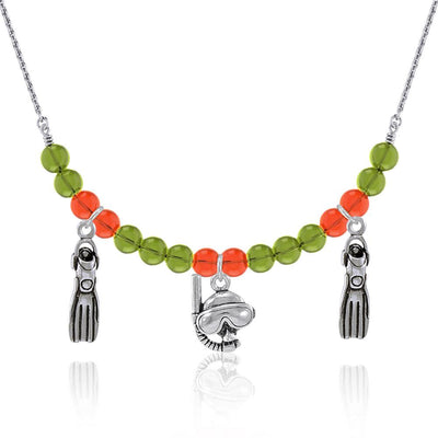 Silver Dive Mask and Fins multi color Bead Necklace TNC477