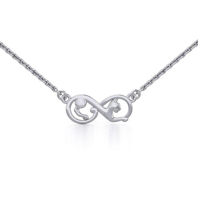 Infinity Cat Silver Necklace TNC489 - Peter Stone Wholesale