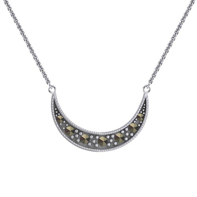 Crescent Moon Sterling Silver Necklace with Marcasite TNC530 Necklace