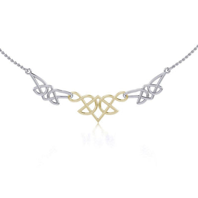 The beautiful art of eternity ~ Celtic Knotwork Sterling Silver Necklace Jewelry with Gold accent Necklace