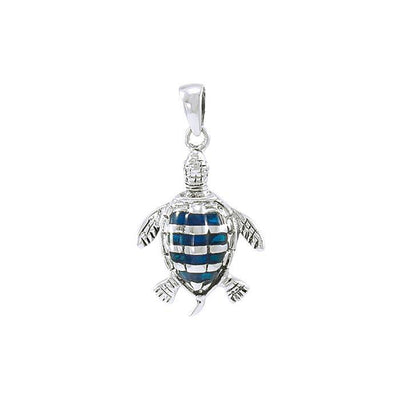 Sea turtle story ~ Sterling Silver Jewelry Pendant with Inlaid Paua Shell TP1079