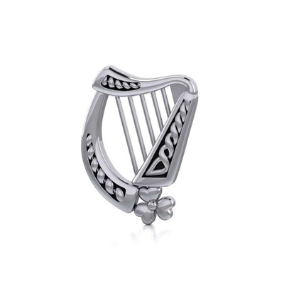Hear the music of the Celtic Harp adorned with a Shamrock ~ Sterling Silver Pendant Jewelry  TP1125