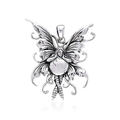 Charming Bubble Rider Fairy Sterling Silver Jewelry Pendant by Amy Brown TP1660
