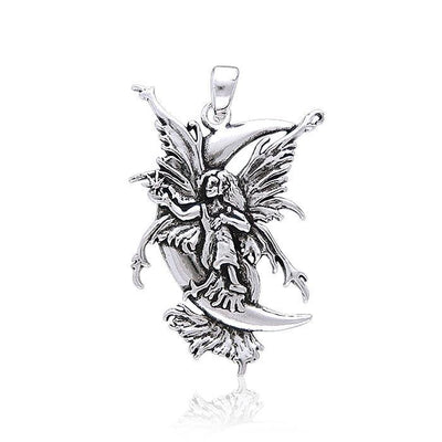 Amy Brown Stargazer Moon Fairy ~ Sterling Silver Jewelry Pendant TP1667