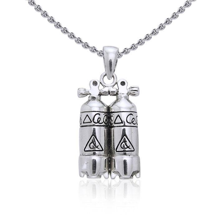 Double Dive Air Tank Silver Pendant TP2331