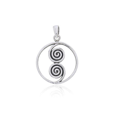 The Celtic Double Spiral Silver Pendant TP234