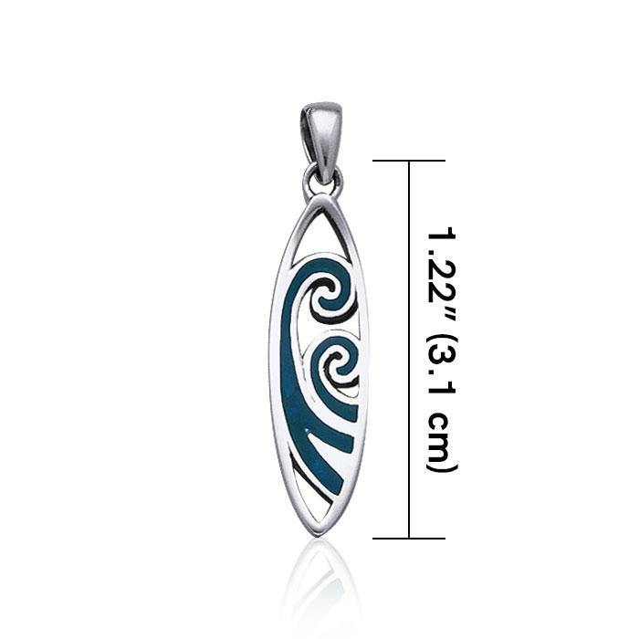 Surfboard with Inlaid Waves ~ Sterling Silver Pendant Jewelry TP2946