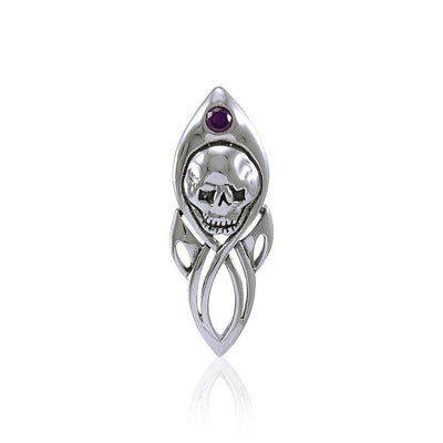 Skull with Gem Silver Pendant TP3074