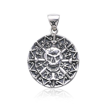 Mayan Pirate Skull ~ Sterling Silver Jewelry Pendant TP3097