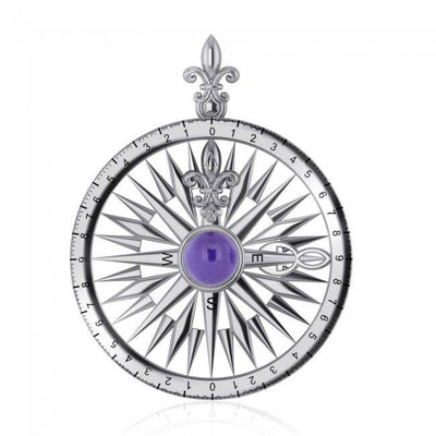 Follow the Compass of your life ~ Sterling Silver Pendant with Gemstone TP3152