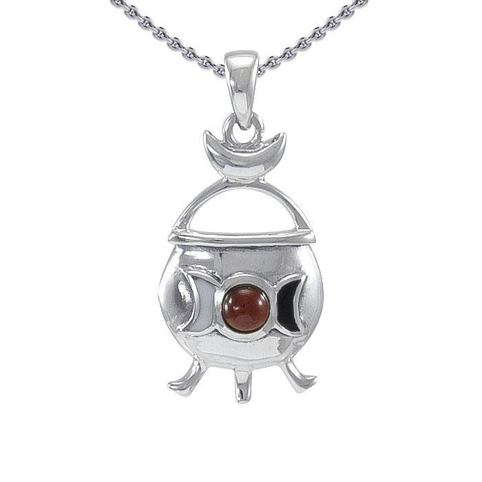 Magickal Witches Cauldron Silver Pendant TP3269