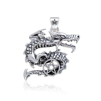 Curling Dragon and The Star Silver Pendant TP3295