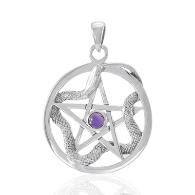 The Star with Weaving Snake Silver Pendant TP3312