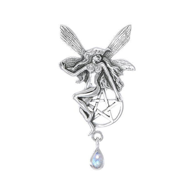 Fairy with Pentagram Silver Pendant TP3319