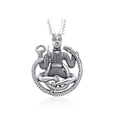 God Cernunnos in his mighty throne ~ Sterling Silver Jewelry Pendant TP3450