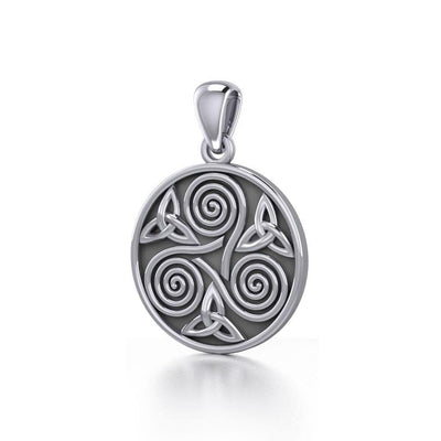 Celtic Three Single Spirals Triquetra Silver Pendant TP346