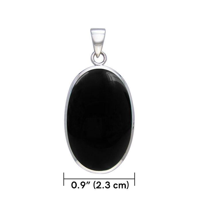 Large Silver Oval with Inlay Stone Pendant TP3539