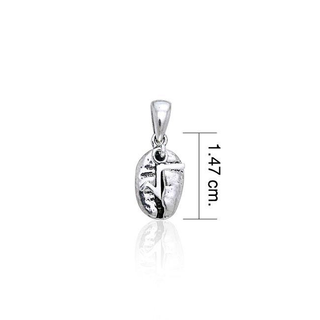 Square Root Coffee Bean Silver Pendant TP390