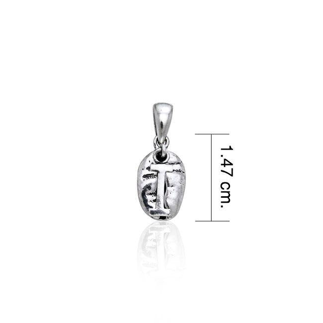 Letter I on Coffee Bean Silver Pendant TP408