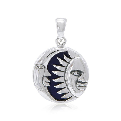 Sun Moon Flip Pendant with Inlay Stone TP574