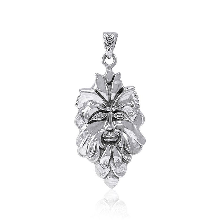 Mischievous Green Man ~ Sterling Silver Pendant Jewelry TP710 Pendant