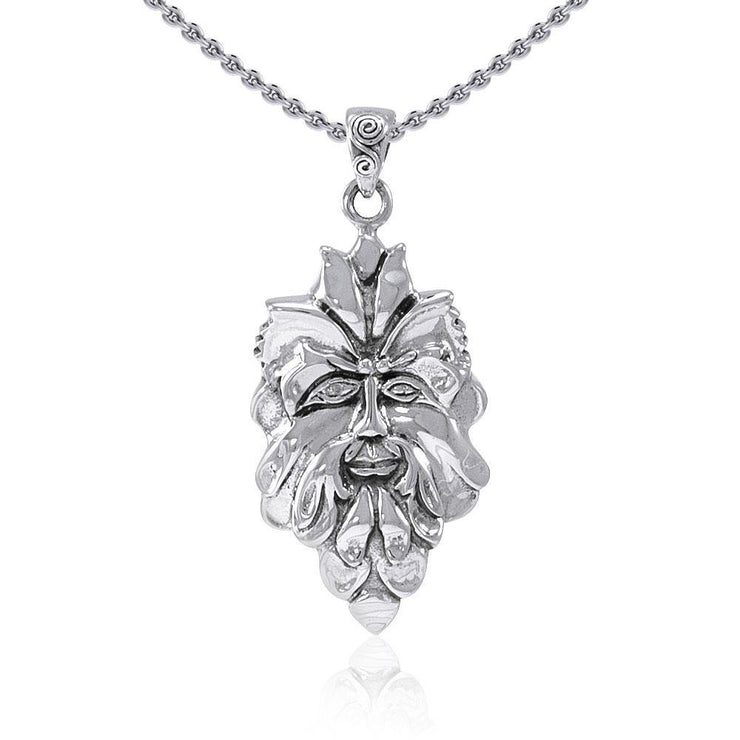Mischievous Green Man ~ Sterling Silver Pendant Jewelry TP710