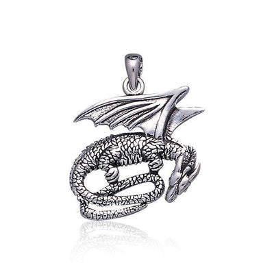 Slumbering Winged Dragon ~ Sterling Silver Jewelry Pendant TP844