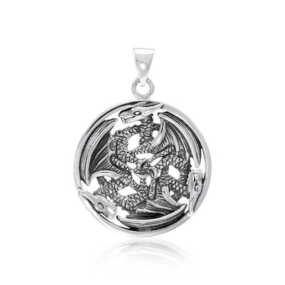 Forever entwined Triple Dragon ~ Sterling Silver Amulet Pendant TP965