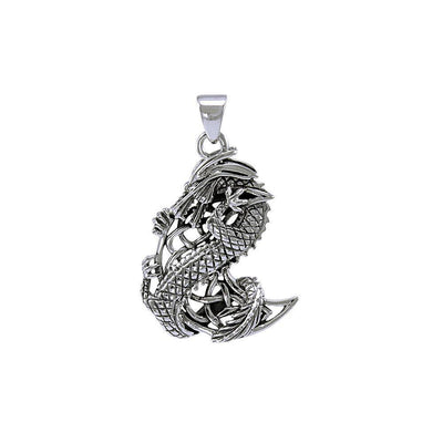 The Mythical Dragon Clutching Celtic Moon Sterling Silver Moon Pendant Jewelry TP992