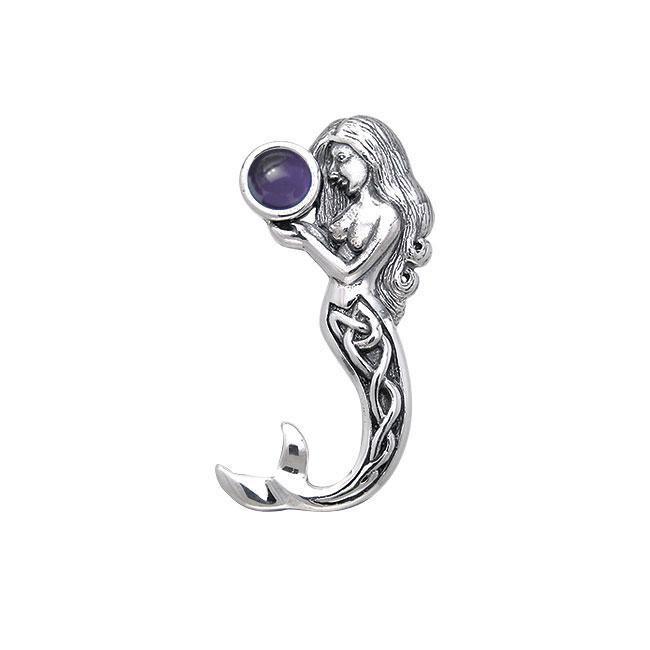 Gentle melody of the Celtic Mermaid Under the Sea ~ Sterling Silver Jewelry Pendant with Gemstone TPD080
