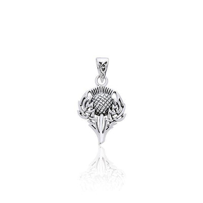 Spirit Of Alba Thistle Silver Pendant by Courtney Davis TPD1004