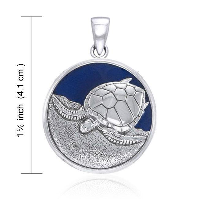 Enameled Turtle Silver Pendant by Ted Andrews TPD1023