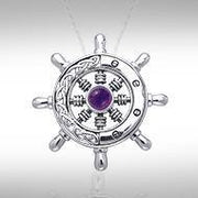 Wherever the Celtic ship wheel goes ~ Sterling Silver Small Pendant with Gemstone TPD1028
