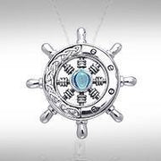 Wherever the Celtic ship wheel goes ~ Sterling Silver Small Pendant with Gemstone TPD1028 Pendant