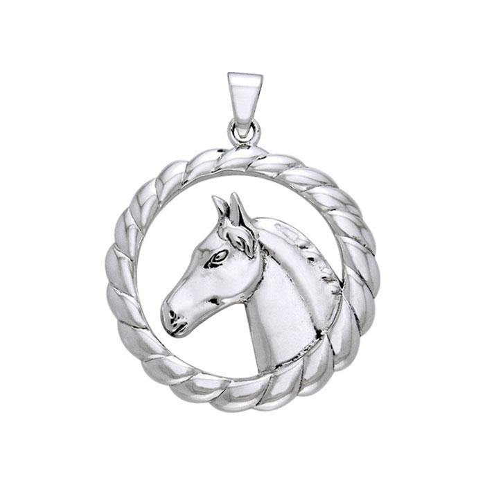 Draft Horse in Rope Braid Silver Pendant TPD1083