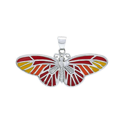 Butterfly Sterling Silver Pendant with Enamel TPD1150