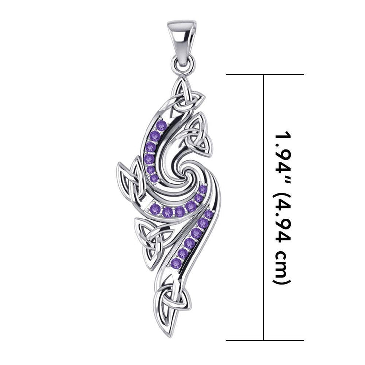 A meaningful elegance of the Trinity ~ Sterling Silver Celtic Triquetra Pendant Jewelry with Gemstone TPD1272