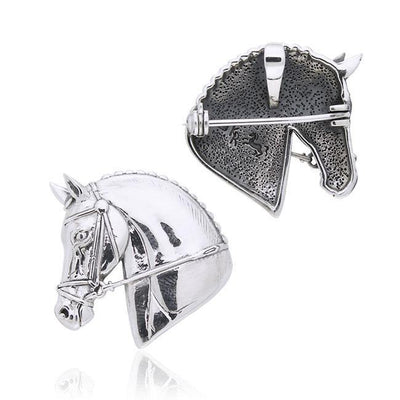 Horse Head Silver Pendant and Pin in One TPD1571