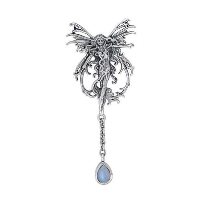 Fire Element Fairy Silver Pendant with Dangling Gem by Amy Brown TPD189 Pendant