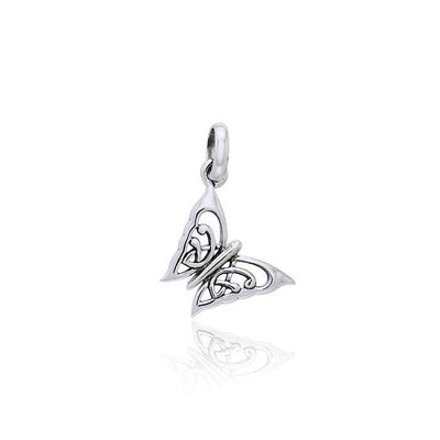 Small Celtic Butterfly Sterling Silver Pendant TPD3041