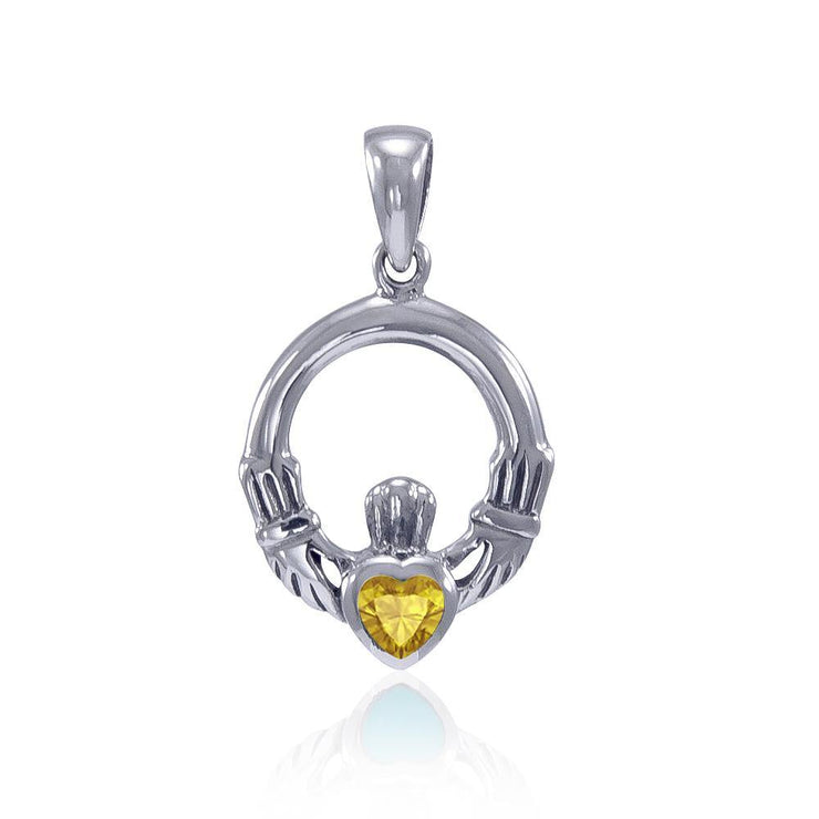 Celtic Claddagh Birthstone Sterling Silver Pendant TPD3097