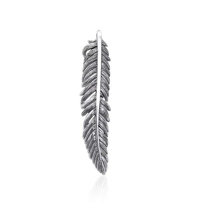 Small Feather  Sterling Silver Pendant  TPD3283
