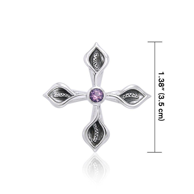Calla Lily Cross Silver Pendant with Gemstone TPD3392 Pendant