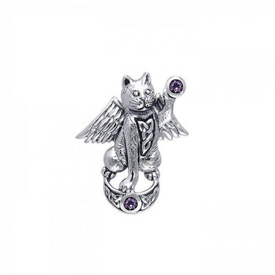Celtic Cat Angel Moon Pendant TPD342
