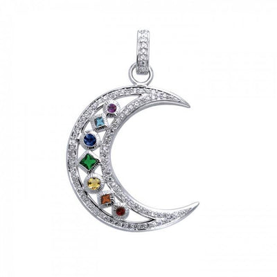 Chakra Moon Sterling Silver with Gemstones Pendant TPD3494