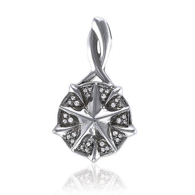 Silver Compass Slider Pendant with Gemstone TPD3528