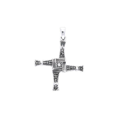Brigids Cross Silver Pendant with Marcasite TPD3561